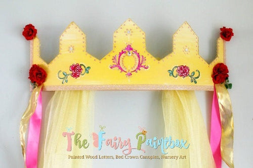 Rose Crown Canopy - Beauty & the Beast Nursery Crown for Wall - Wall Crown Canopy