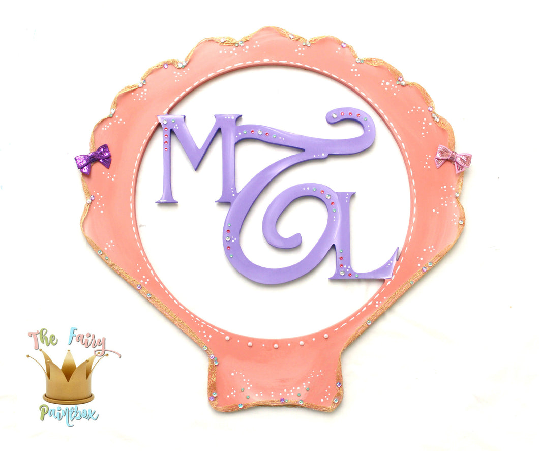Coral Sea Shell Monogram Nursery Room Wall Sign - Personalized Shell Monogram Sign