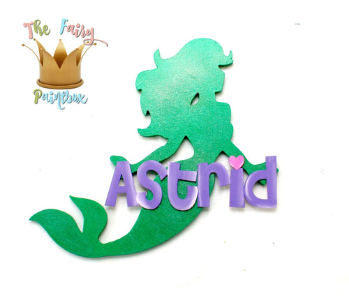 Mermaid Baby Name Nursery Room Sign - Personalized Mermaid Kids Room Sign