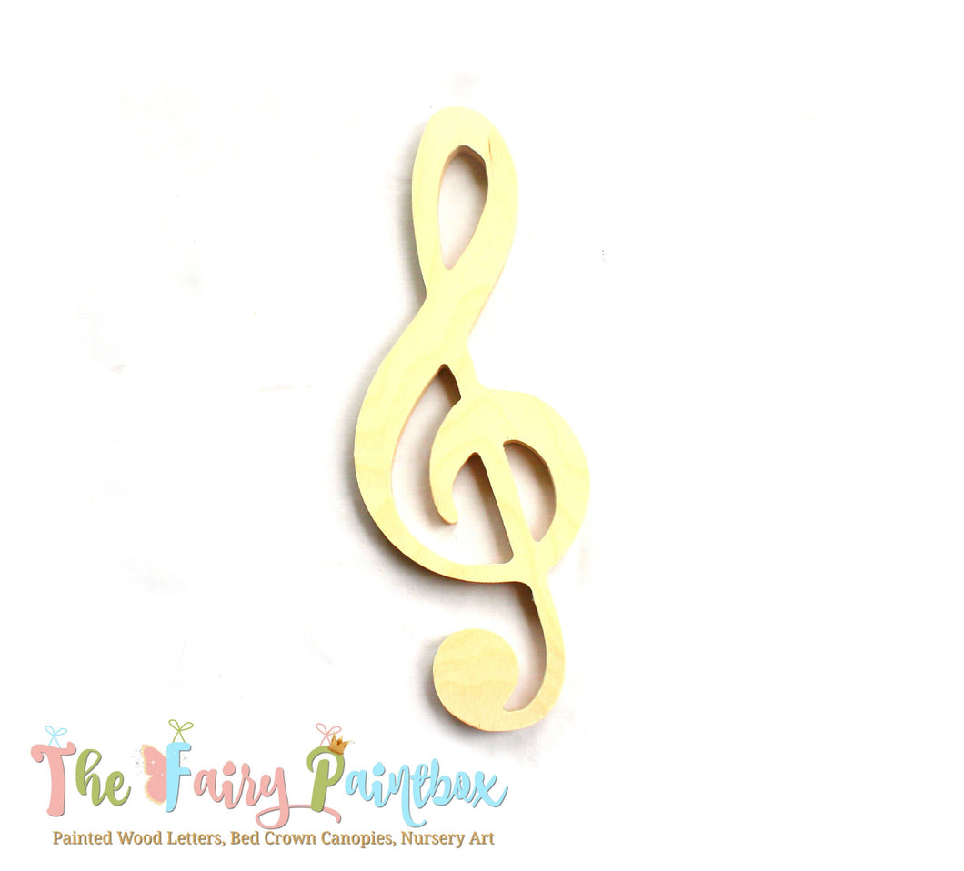 Large Treble Clef Wood Shape, Music Nursery Wall Shapes Unpainted Wood, Assorted Sizes, Wood Treble Clef Photo Prop, Newborn Wedding Prop