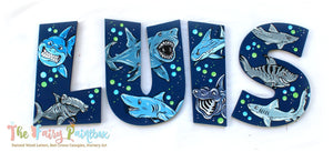 Shark Painted Letters - Shark Nursery Letters - Shark Baby Name Sign - Shark Kids Room Decor - Wood Letters