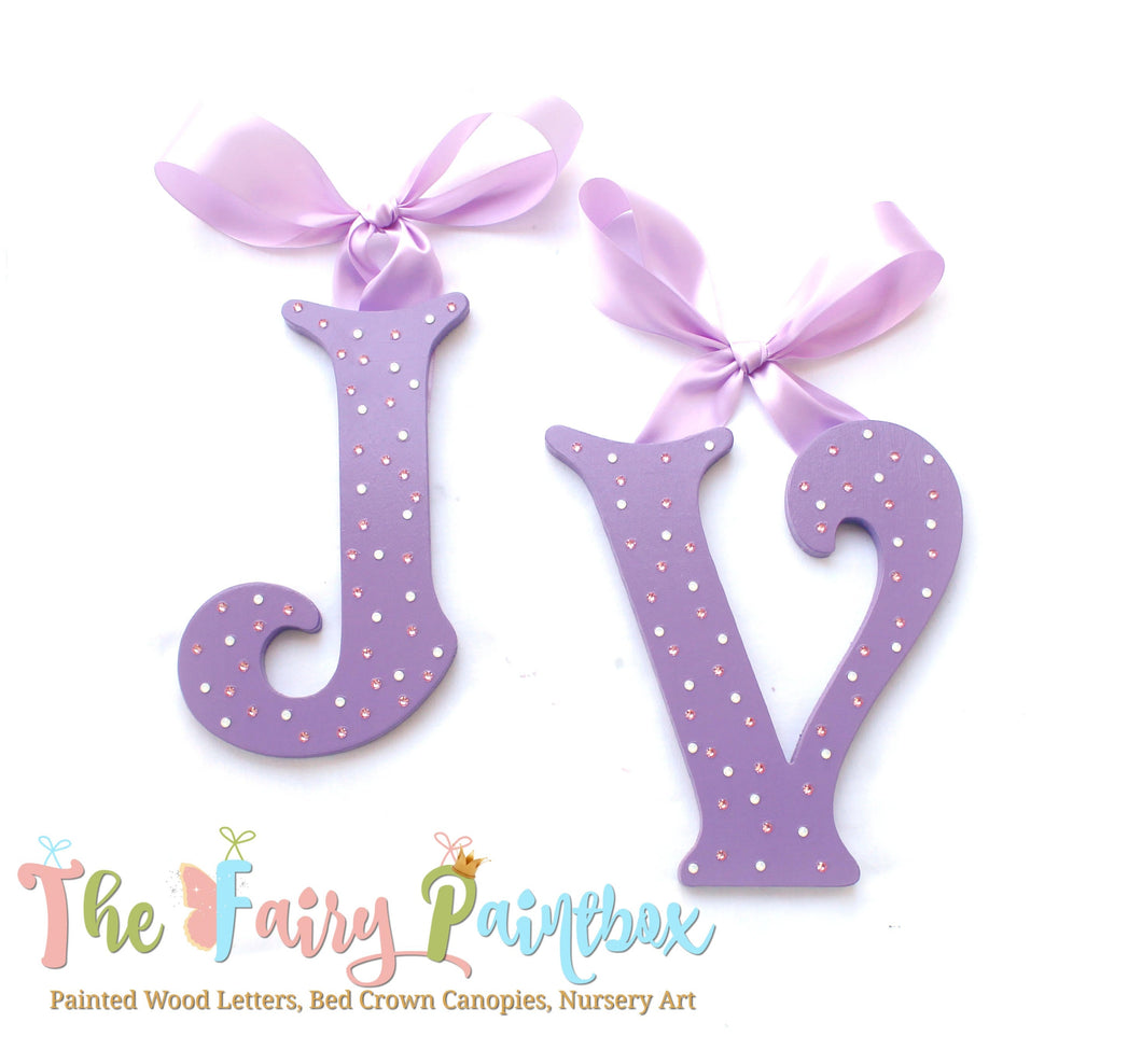 Crystal Purple Painted Letters - Crystal Lilac Nursery Letters - Girls Nursery Wall Letters - Crystal Painted Wood Letters