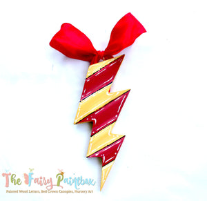Wizard House Lightning Bolt Ornament - Red Gold Lightning Bolt Party Favor - Wizard Christmas Ornament - Lightning Bolt Wood Ornament