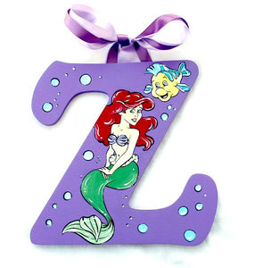 Little Mermaid Monogram Nursery Room Wall Letters - Little Mermaid Painted Wood Letters