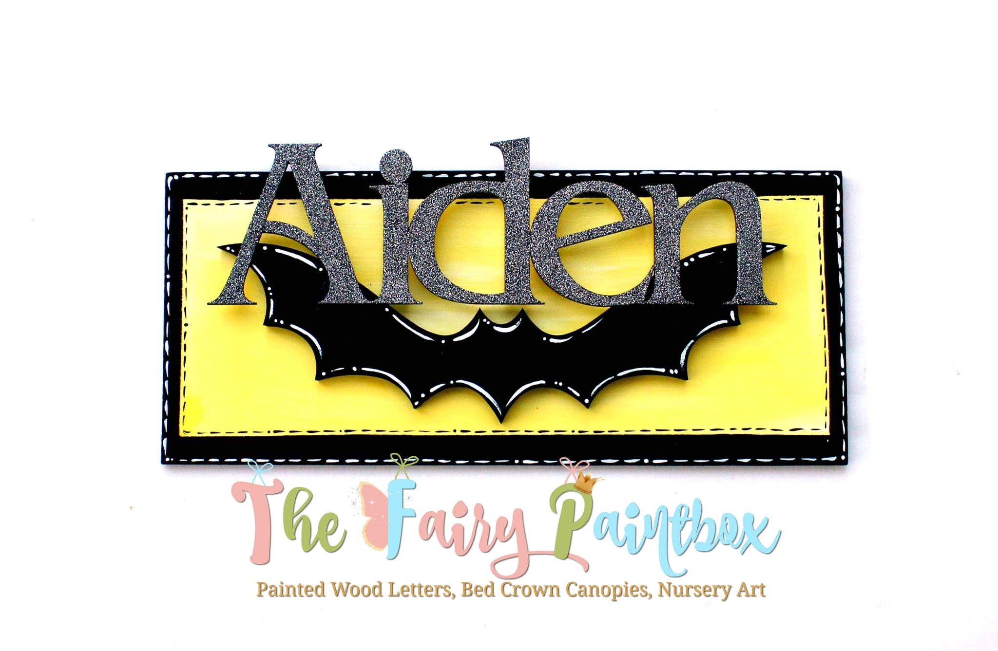 Bat Cave Baby Name Sign - Bat Symbol Personalized Kids Name Sign ...