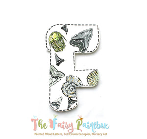 Shark Tooth Painted Wood Letters - Fossil Hunter Nursery Room Monogram Letters - Shark Tooth Baby Room Decor Letters - Trilobite Monogram