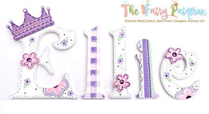 Plum Purple Princess Painted Wood Letters - Princess Baby Room Wall Letters - Butterfly Painted Wood Letters - Floral Painted Wood Letters
