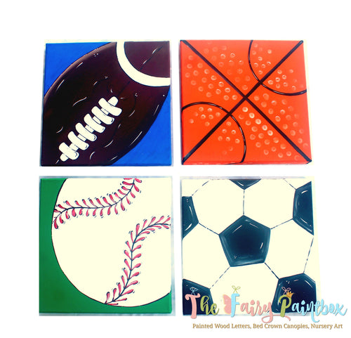Sports Ball Nursery Room Wall Canvas Set - Sports Kids Room Canvas - Set of 4