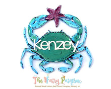 Blue Crab Baby Name Nursery Room Sign - Personalized Blue Crab Kids Room Sign