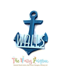 Personalized Anchor Nursery Room Sign - Baby Name Anchor Wall Sign