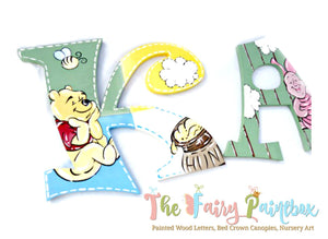 Pooh Bear Nursery Room Wall Letters - Hundred Acre Wood Kids Room Painted Wood Letters