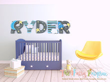 To the Moon Nursery Wall Painted Letters - Moon Bedding Crib Decor Letters - Twinkle Star Bedding Decor Baby Name Sign - Kids Wall Letters