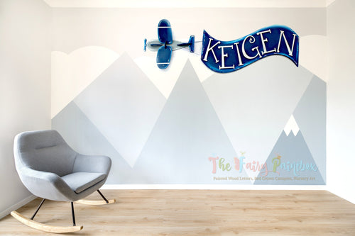 Airplane Nursery Wall Hanging - Baby Name Wall Hanging - Airplane Sign - Kids Room Banner - Aviator Nursery Decor - Baby Name Banner Decor