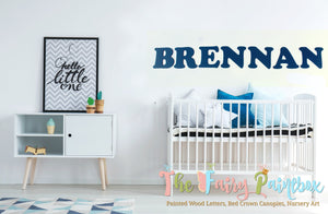 Blue Painted Wood Letters - Painted Boys Wall Letters - Custom Painted Wooden Letters - Kids Room Wall Letters - Nursery Room Wood Letters