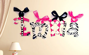 Funky Zebra Baby Room Decor Hanging Wall Letters - Zebra Wall Hanging Letters - Safari Kids Room Decor Painted Wood Letters - Monogram Decor
