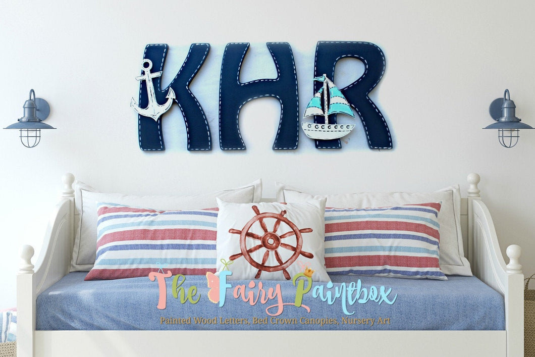 Nautical Nursery Wall Monogram Letters - Monogram Wall Hanging - Wooden Initials - Wall Letters - Monogram Decor - Baby Name Boat Wall Decor