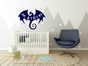 Dragon Wooden Wall Sign - Personalized Above Crib Dragon Bedding Hanging Decor - Dragon Kids Room Wall Art - Dragon Crib Kids Name Sign