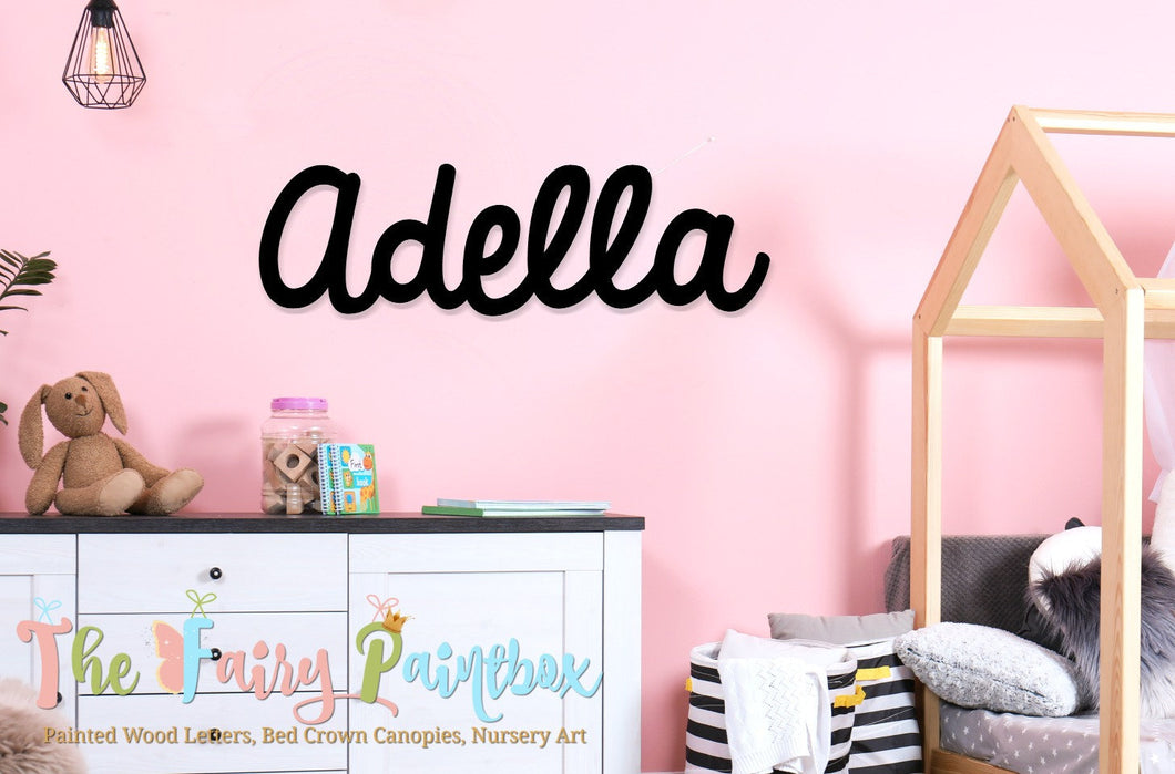 Girls Nursery Wall Painted Letters - Baby Name Wall Hanging - Wooden Initials - Black Wall Letters - Girls Room Decor - Wood Hanging Letters
