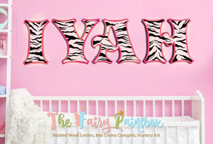 Zebra Painted Letters - Safari Nursery Letters - Girls Nursery Decor - Zebra Nursery - Zebra Stripe Newborn - Baby Name Sign - Wood Letters