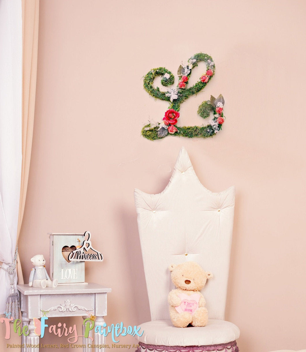 Botanical Rose Nursery Room Wall Monogram - Red Rose Moss Letters - Floral Bedding Crib Decor Letters - Woodland Moss Baby Name Letters