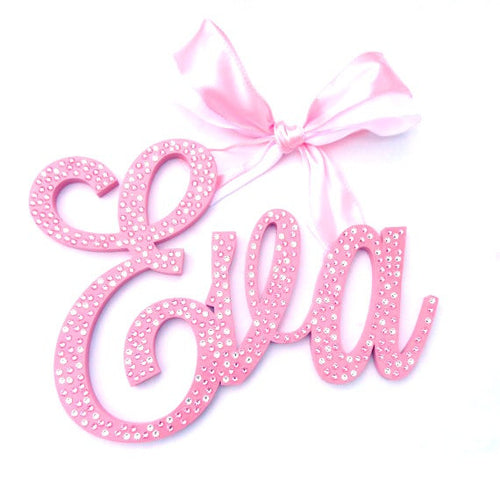 Sparkle Pink Crystal Wall Letter Sign - Swarovski Crystal Pink Painted Letters - Shimmer Pink Nursery Letters - Baby Name Sign - Wood Letters