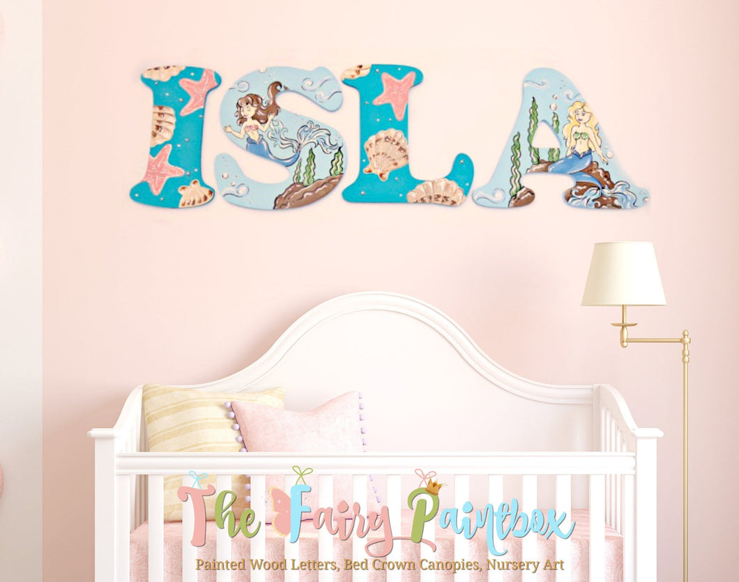 Blue Mermaid Decoration Baby Room Mermaid Painted Wall Letters