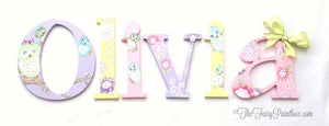 Pastel Owl Nursery Room Wall Letters - Happy Tree Owl Kids Room Painted Wood Letters