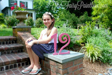 Birthday Age Table Number - Photo Prop Number Sign - Wooden Number - Hot Pink Glitter