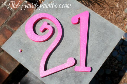 Hot Pink Glitter Wood Number Sign - Shimmer Hot Pink Standing Table Number Decor