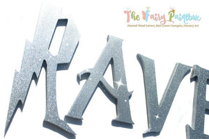 Wizard Academy Nursery Room Wall Letters - Wizard Kids Room Painted Wood Letters - Silver Glitter