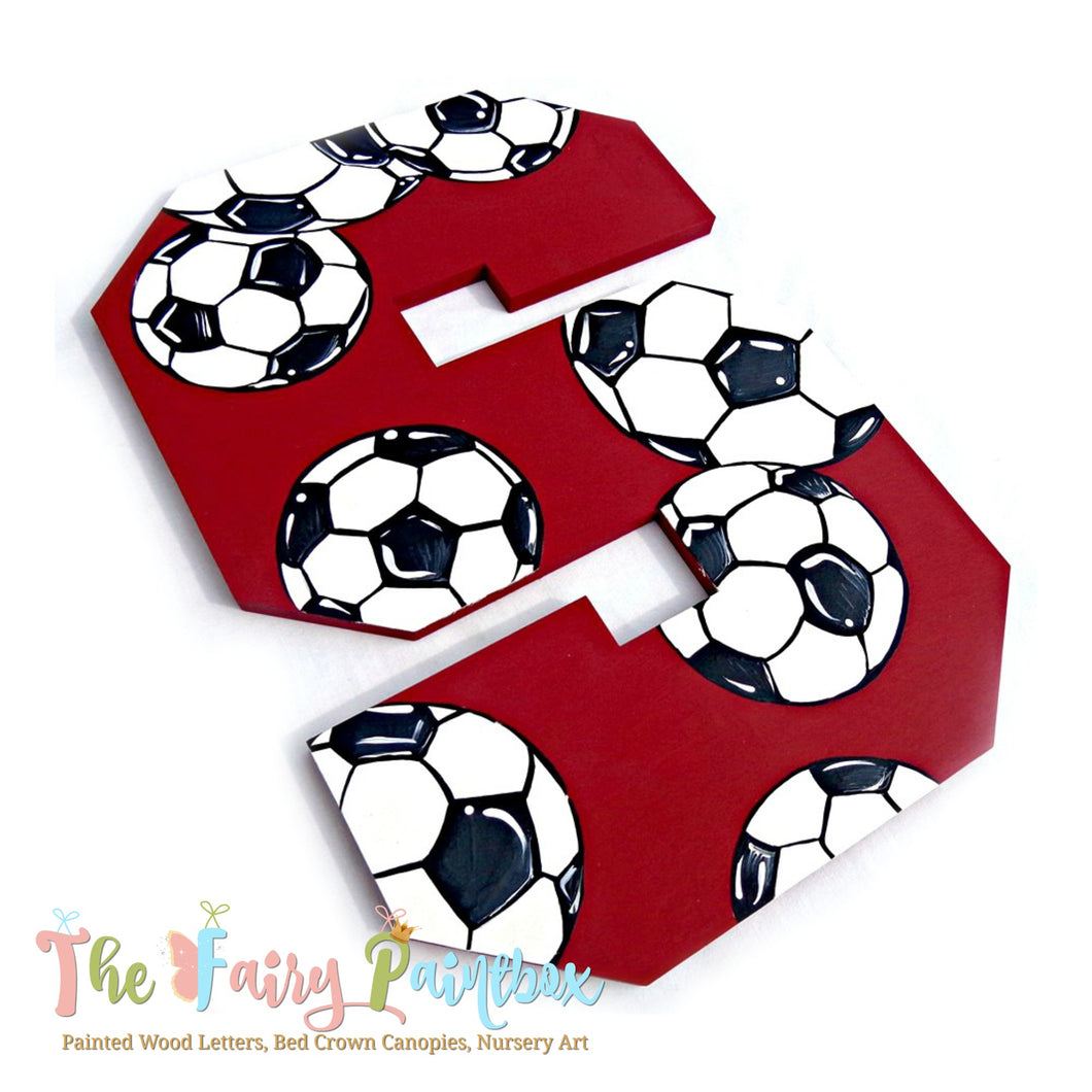 Soccer Nursery Room Wall Letters - Soccer Kids Room Painted Wood Letters - Red