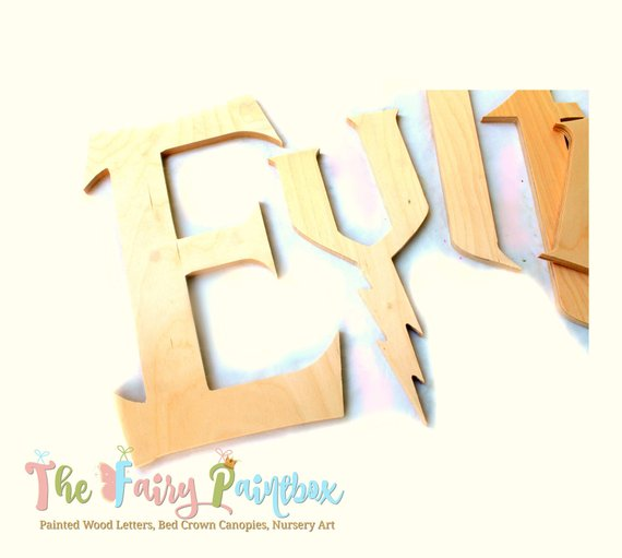 Wizard Wooden Letters - Unpainted Wood Letters - Paint Your Own Wizard Wall Letters - 1/2