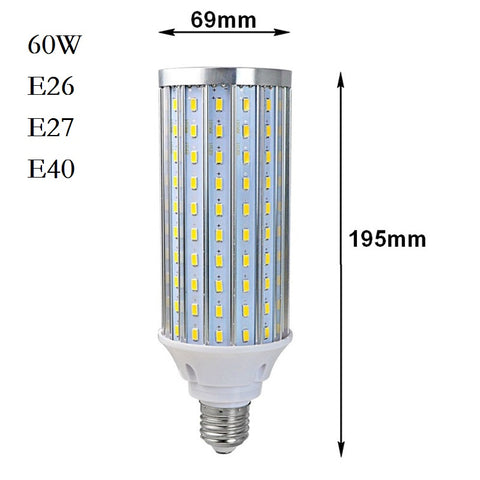 60W - Watts LED Corn Bulb 85-265V/AC LED Bulb Lamp Light - E26 and E39 for US - Replace regular bulbs with LED