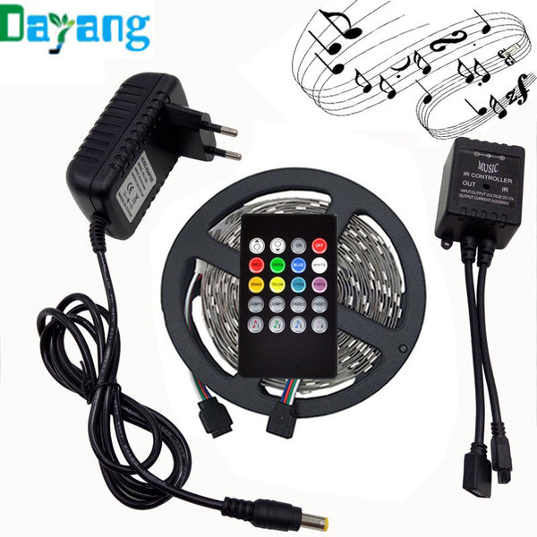 RGB LED Light Strip 5050 10M With 44 Key IR Remote Controller 12V 2A 5A Adapter