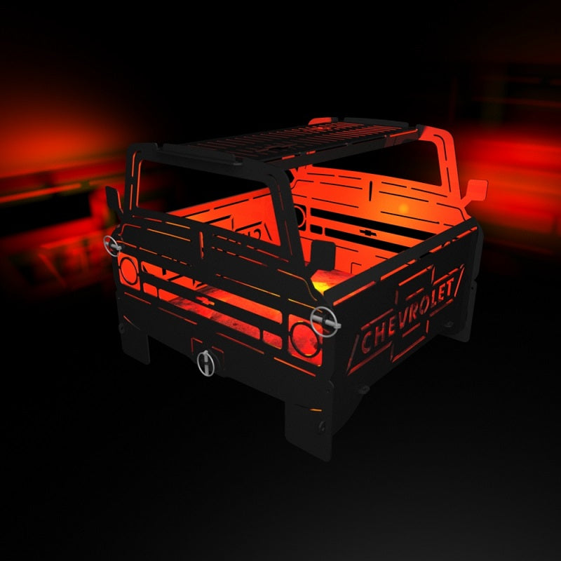 image of 1968 Chevy C10 Truck Fire Pit Portable Collapsible FirePit Grill