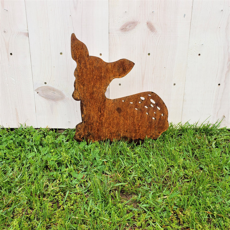 Fawn Garden Decor Metal Stake