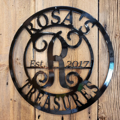 image of Custom Business Name Monogram Established Date Steel Sign