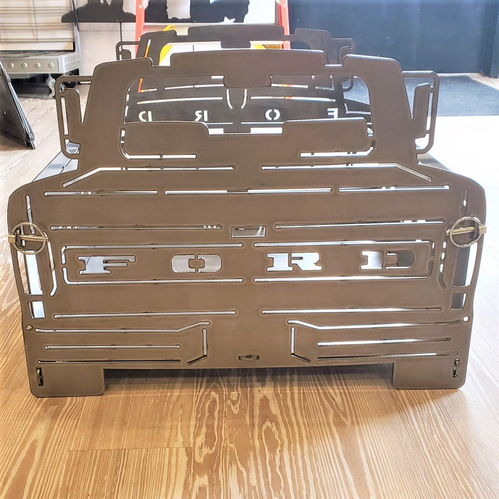 image of rear 1972 F100 Bumpside Portable Collapsible Fire Pit Grill