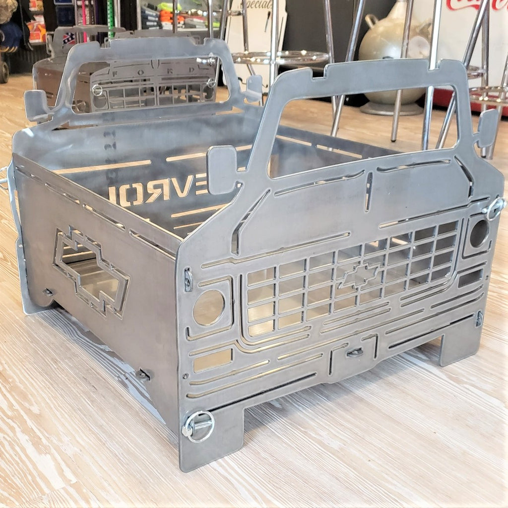 image of side C10 Square Body Chevy Portable Collapsible Fire Pit Grill