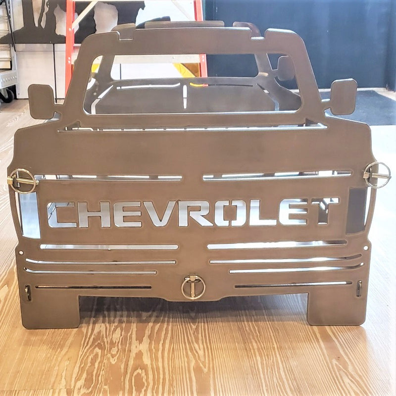 image of rear C10 Square Body Chevy Portable Collapsible Fire Pit Grill