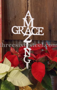 Amazing Grace Cross Plant Pick