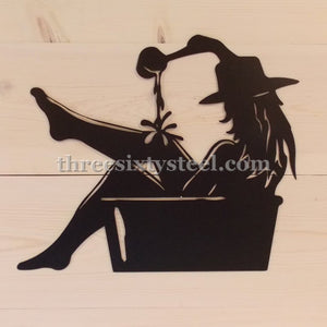 Bathing Cowgirl Steel Wall Art