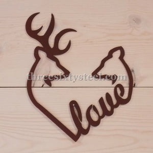 Deer Love Heart Steel Wall Art