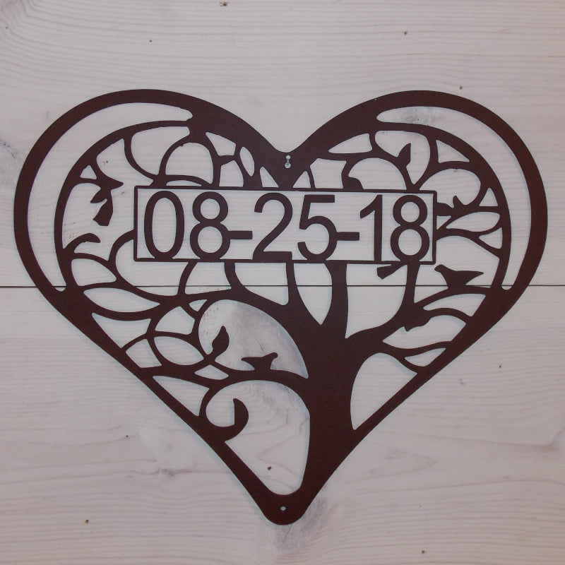 Tree of Life Heart w/ Date Steel Art