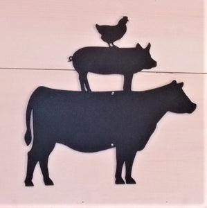 Farm Pile Cow Pig Chicken Steel wall hanger