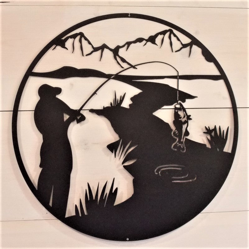 Fishing Mountain Stream Scene Metal Wall Art