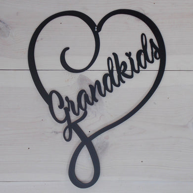 Grandkids Heart Steel Art