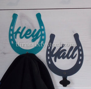 Hey Yall Horse Shoe Coat Hook Pair