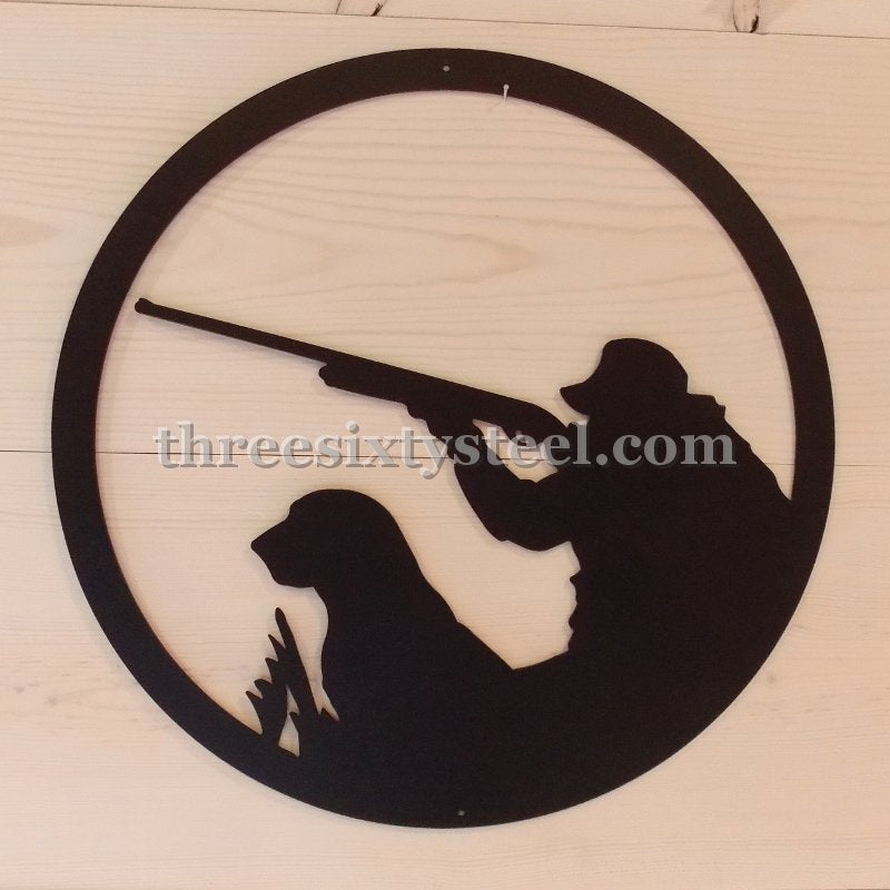"20"" Round Duck Hunter Scene Steel Wall Decor"