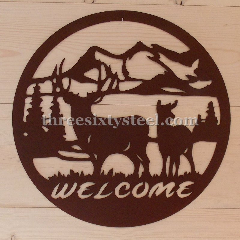 "24""Deer Scene Steel Wall Decor"